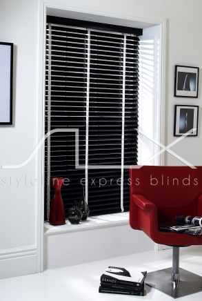 50mm Ebony with 25mm White Tape Window blind