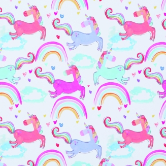 Rainbow Unicorns Fuchsia - New Range 2018 - Roller Blinds