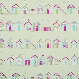Seaside huts pink - Roman Blinds