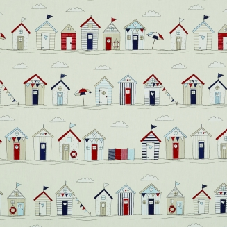 Seaside Huts Blue - Roman Blinds
